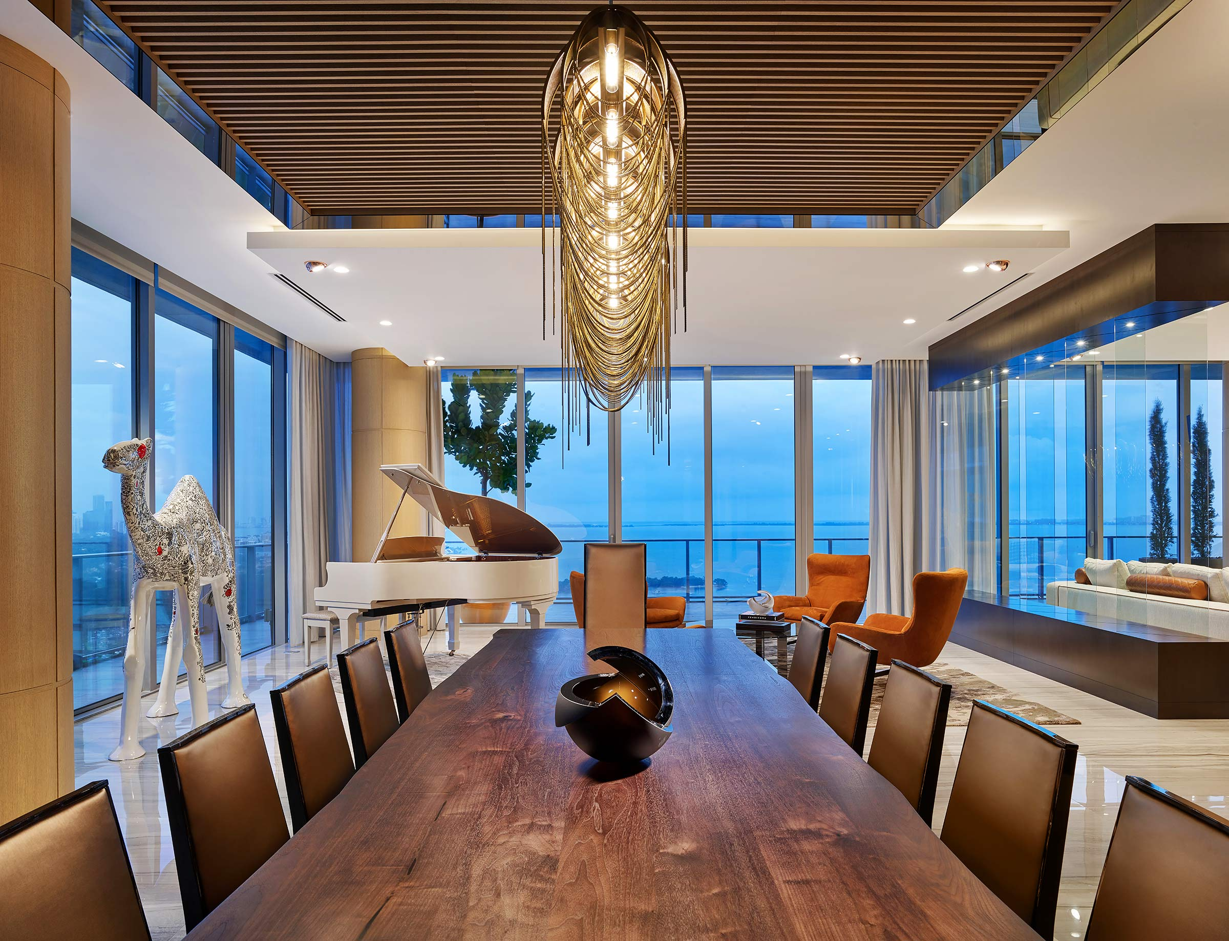 Fort-Lauderdale-Beach-High-Rise-Twilight-View-Interior-Piano