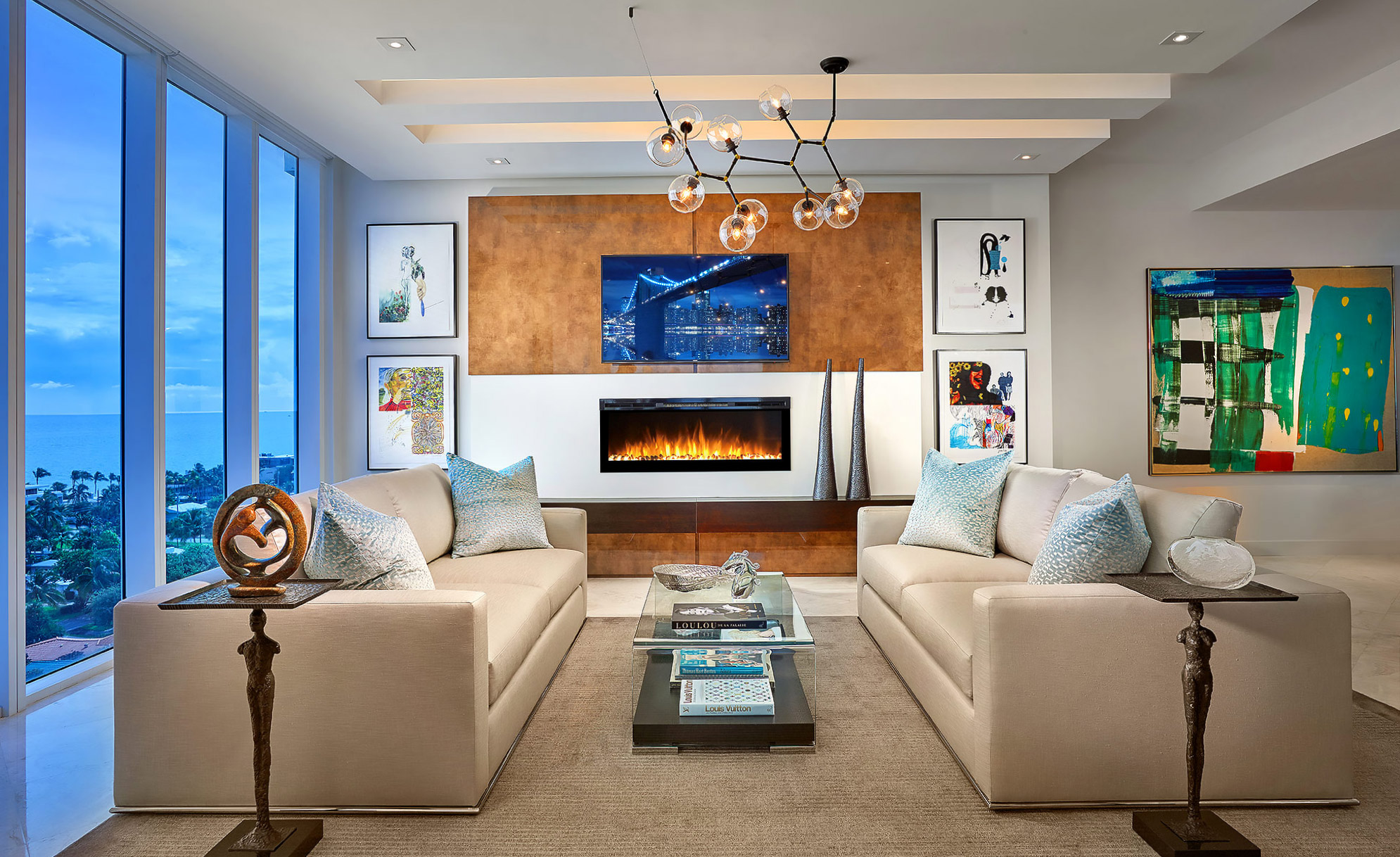 Luxury-Real-Estate-Living-Miami-Fireplace-Ocean