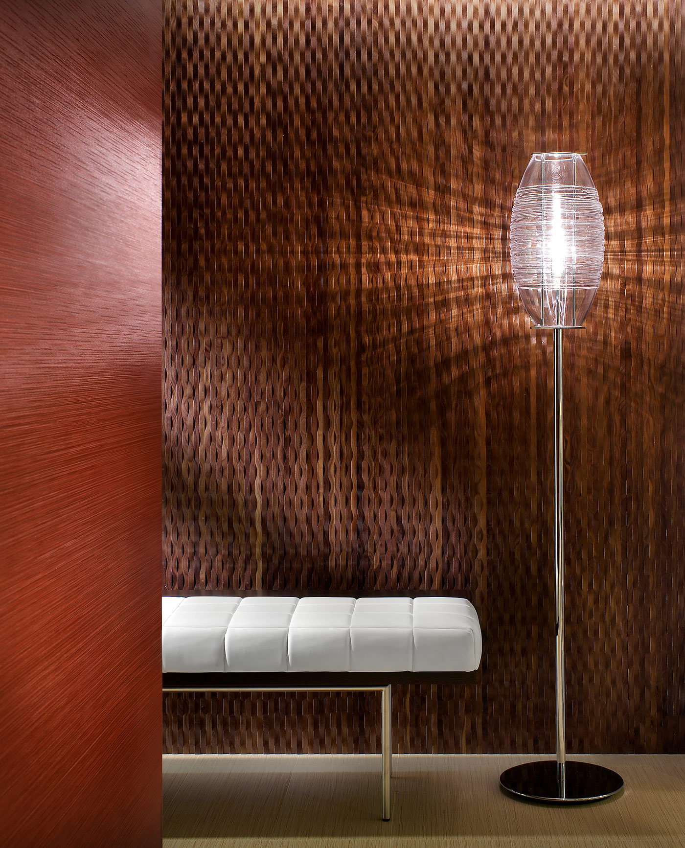 RTKL-Foyer-Detail-Red-Wallpaper-Torhiere-Floor-Lamp